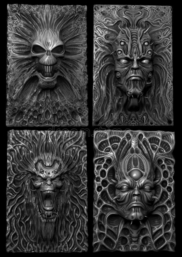 Cráneos y caras en blanco y negro imagenes de archivo