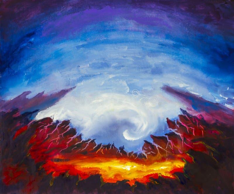 Cráter abstracto, volcán, amarillo, lava anaranjada Infierno Montañas agudas Pintura al óleo azul de la original del fondo Impres ilustración del vector
