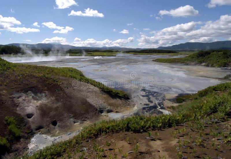 Cráter del volcán Uzon imagen de archivo