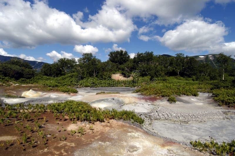 Cráter del volcán Uzon imagen de archivo libre de regalías