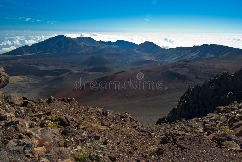 Cráter volcánico de arriba fotografía de archivo