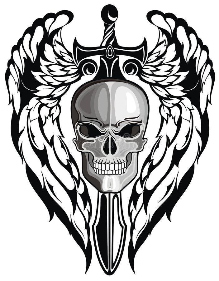 Crâne à ailes avec l'épée illustration libre de droits
