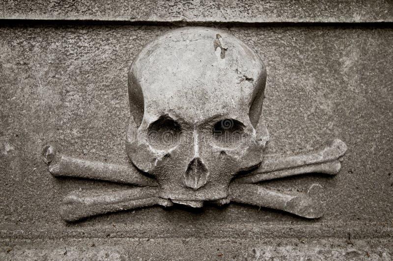 Crâne à la pierre tombale photo libre de droits