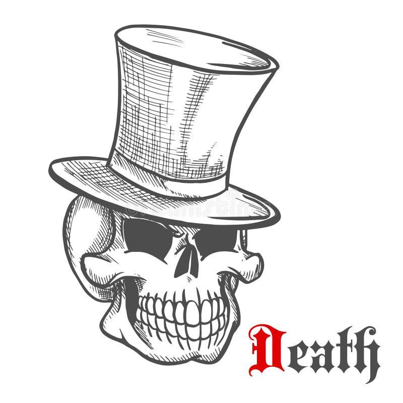 Crâne élégant de Monsieur dans le croquis de chapeau supérieur de vintage illustration stock