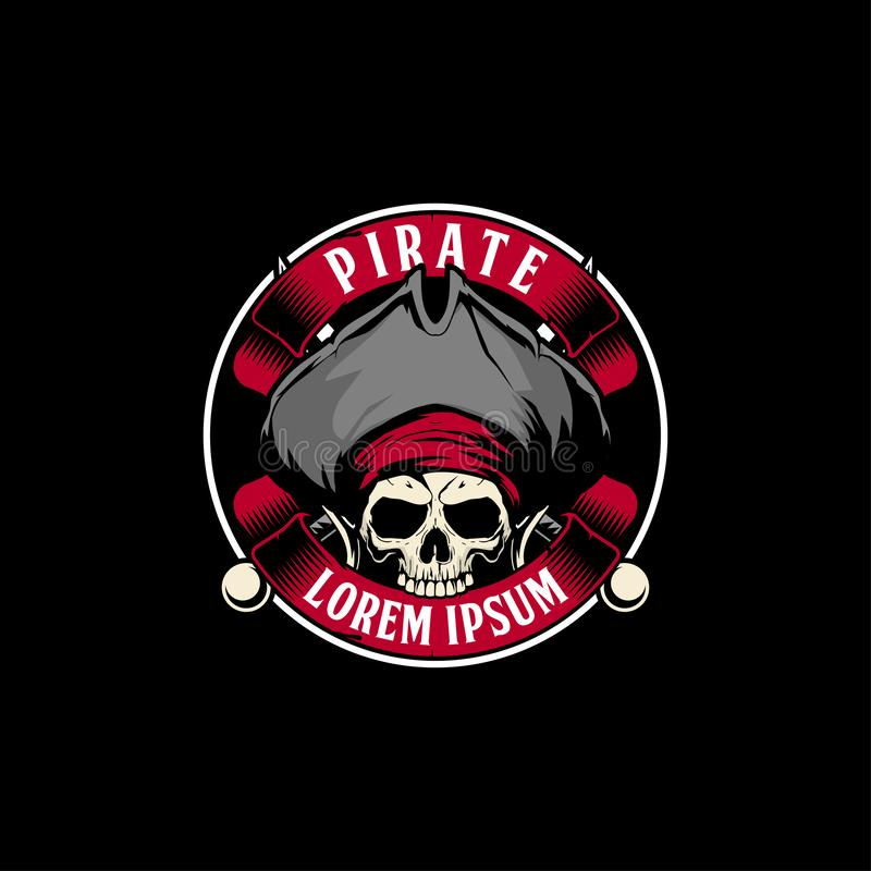 Crâne étonnant et unique de pirate avec le calibre croisé de logo d'insigne de vecteur d'épée et de ruban illustration stock