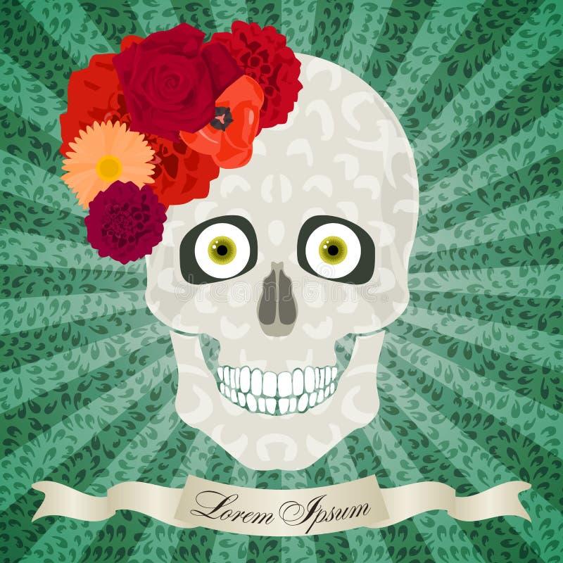 Crâne abstrait avec des fleurs, des yeux, le modèle léger et le CCB de bruit-art illustration libre de droits