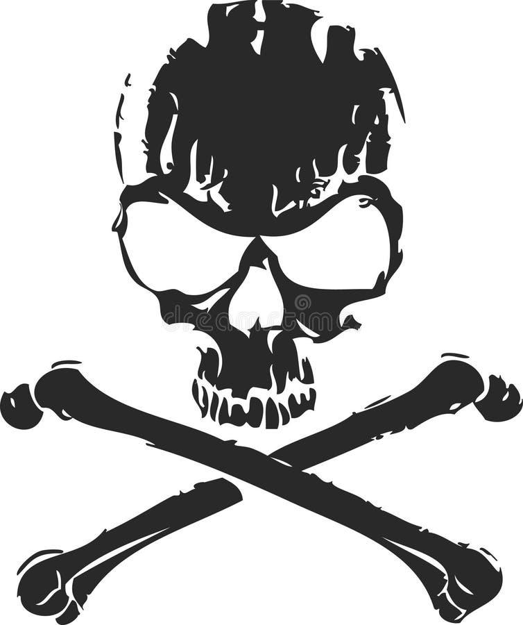 Crâne abstrait et os en travers illustration stock
