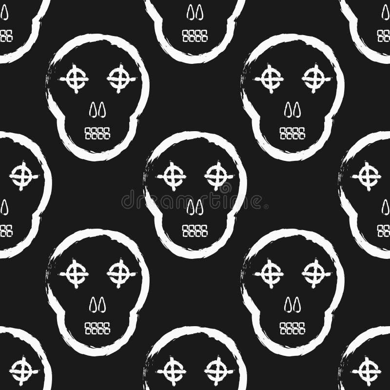 Crâne abstrait peint à la main avec la brosse rugueuse Configuration sans joint Grunge, croquis, graffiti, aquarelle illustration stock