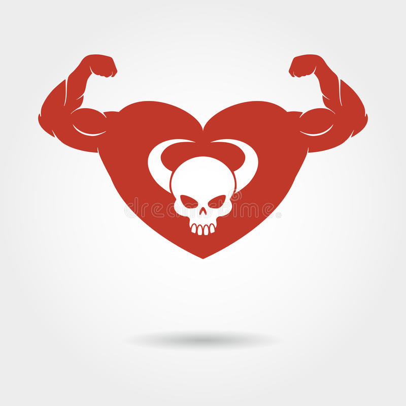 Crâne au coeur avec le biceps masculin illustration stock