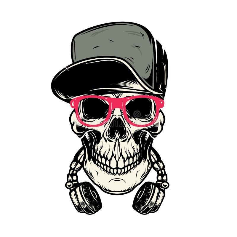 Crâne avec des écouteurs Concevez l'élément pour l'affiche, carte, emblème, bannière de signe illustration de vecteur