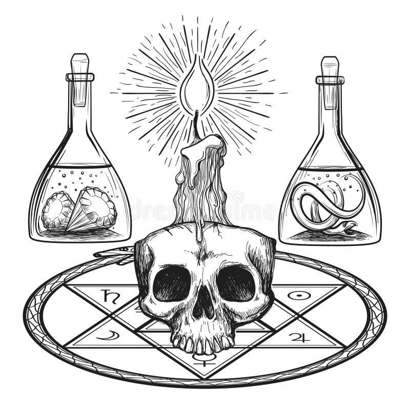 Crâne avec des éléments d'alchimie de bougie illustration libre de droits