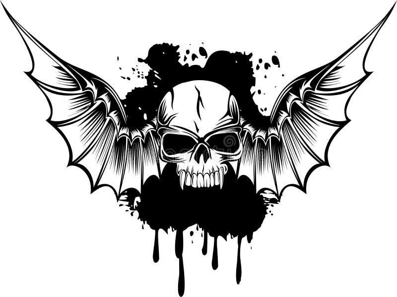 Crâne avec des ailes illustration de vecteur