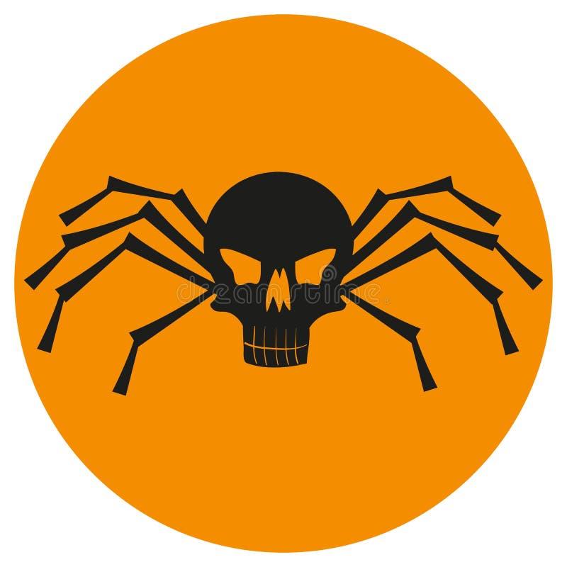 Crâne avec des jambes d'araignée illustration de vecteur