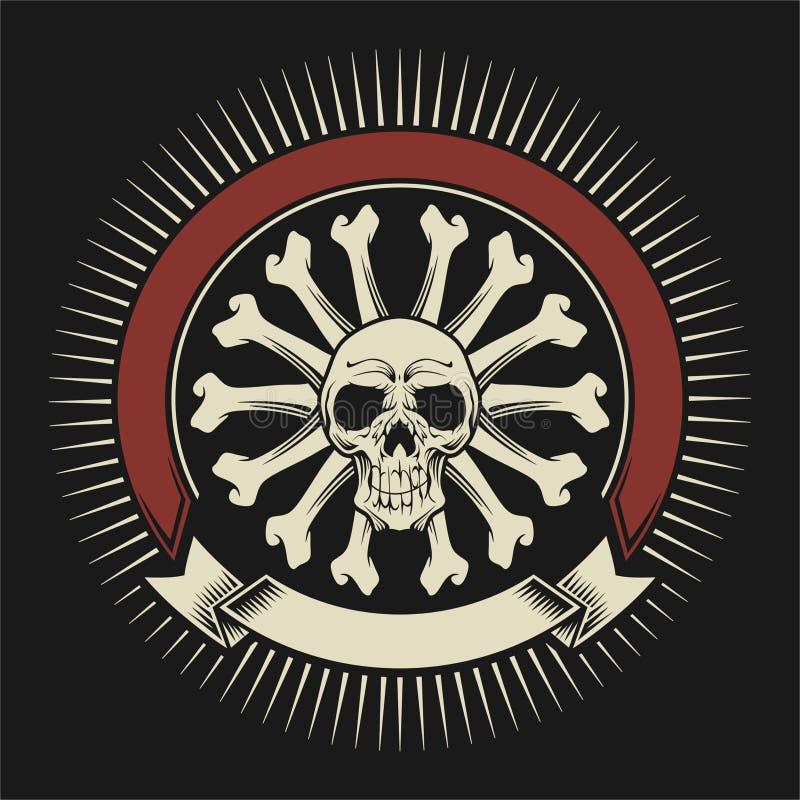 Crâne avec des os de cercle photos libres de droits