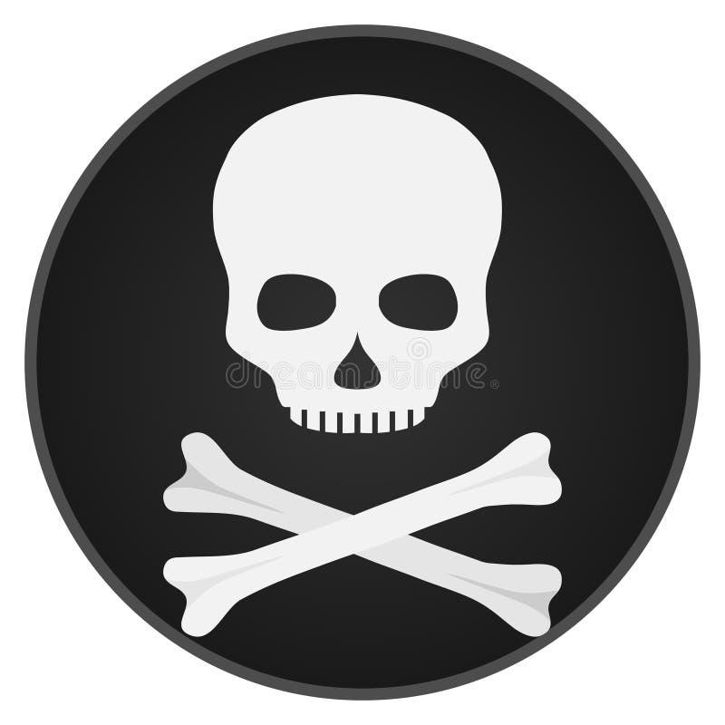 Crâne avec des os Crâne et os sur un fond noir illustration libre de droits