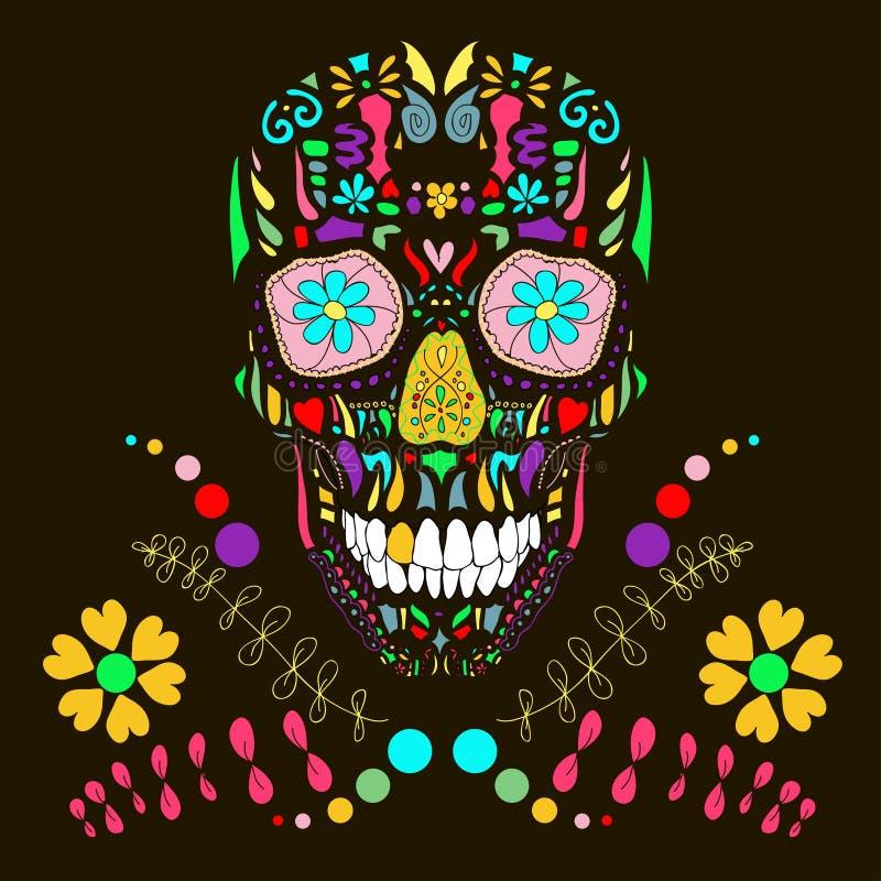 Crâne avec l'illustration de l'ornement floral 1.Vector. illustration stock