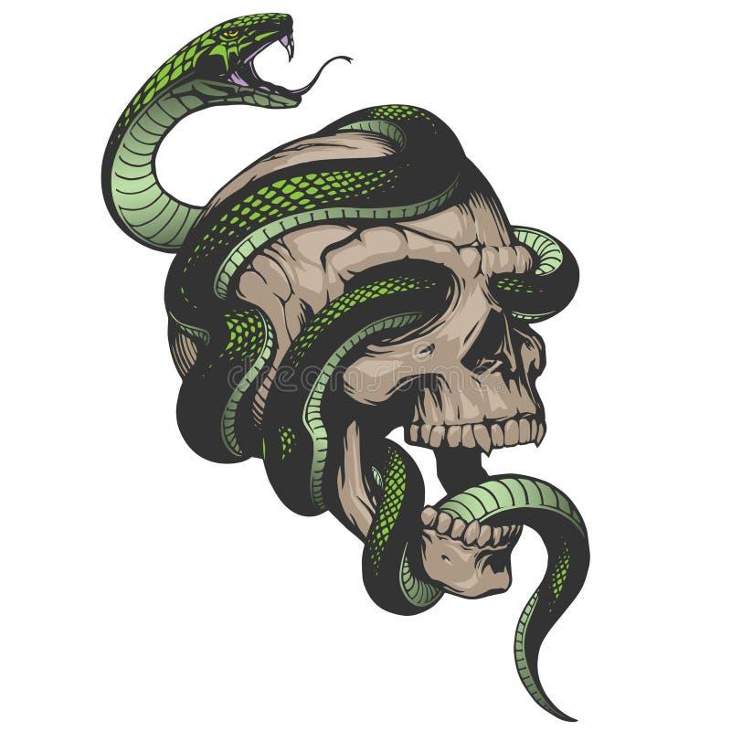 Crâne avec l'illustration de serpent illustration libre de droits