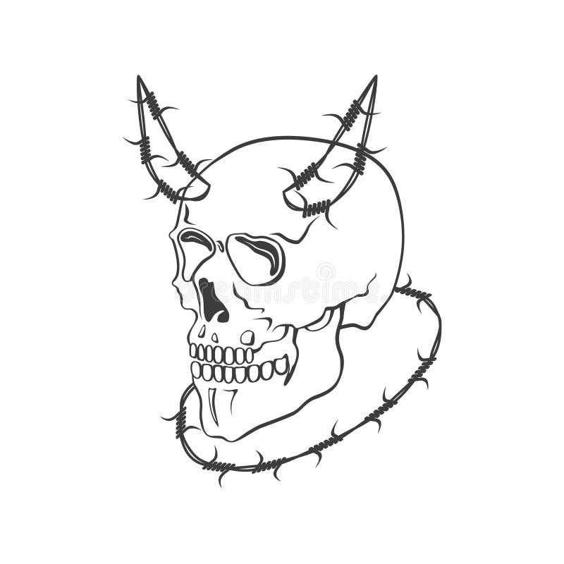 Crâne avec l'illustration moderne de vecteur de barbelé illustration de vecteur