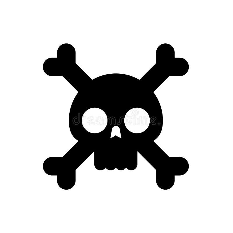 Crâne avec l'illustration plate de vecteur d'os illustration libre de droits