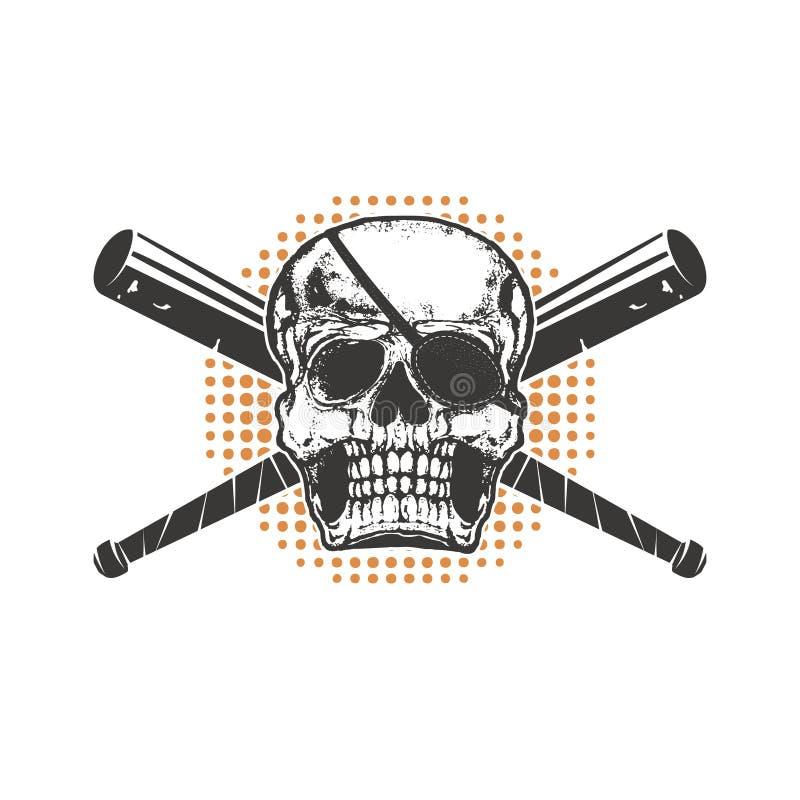Crâne avec la batte de baseball croisée par deux illustration stock