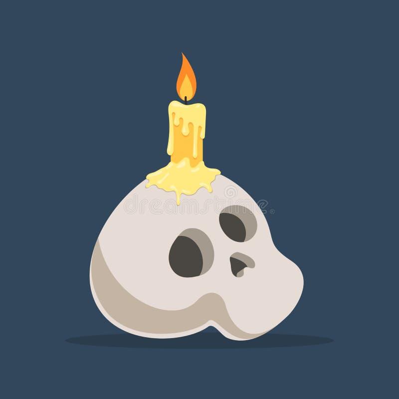 Crâne avec la bougie brûlante illustration libre de droits