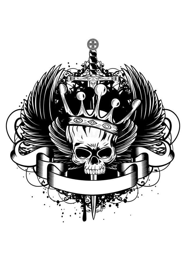 Crâne avec la couronne, les ailes et l'épée illustration de vecteur