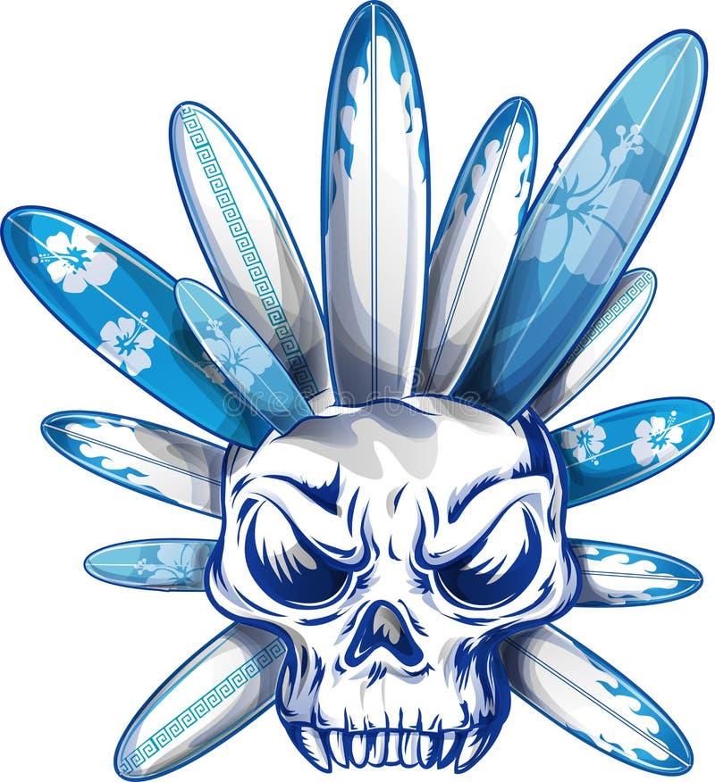 Crâne avec la planche de surf illustration stock