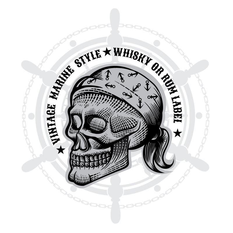 Crâne avec le bandana en gravant le style au centre du volant Éléments marins de conception de vecteur sur le blanc illustration de vecteur