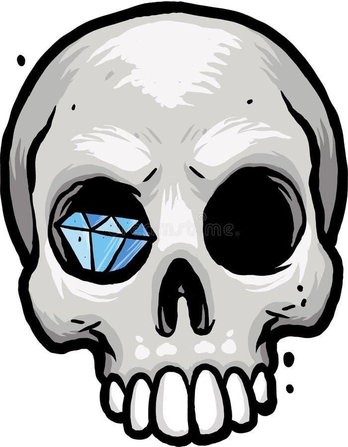 Crâne avec le diamant photographie stock