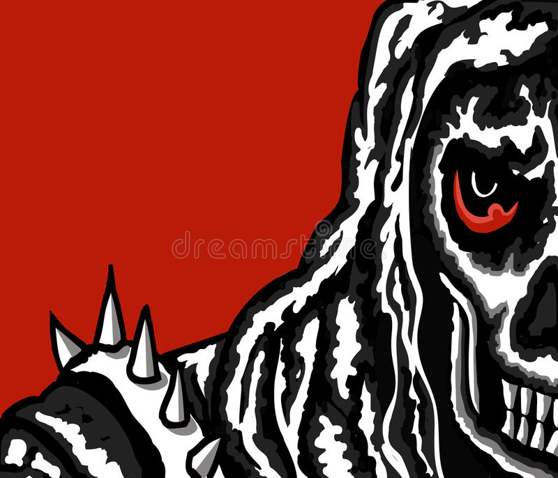 Crâne avec le fond rouge illustration stock