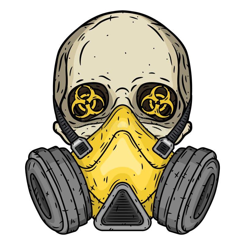 crâne Crâne avec le masque de gaz Crâne avec le respirateur illustration de vecteur