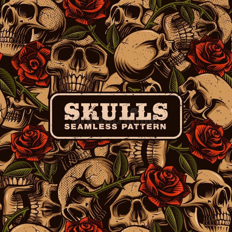Crâne avec le modèle sans couture de roses illustration stock
