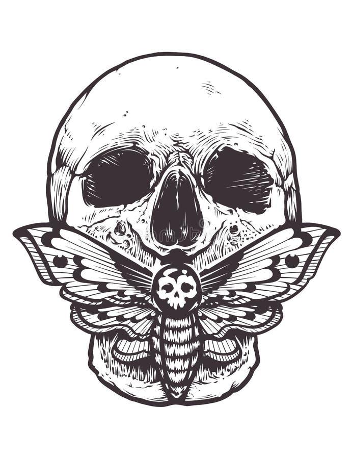 Crâne avec le vecteur de mite illustration de vecteur