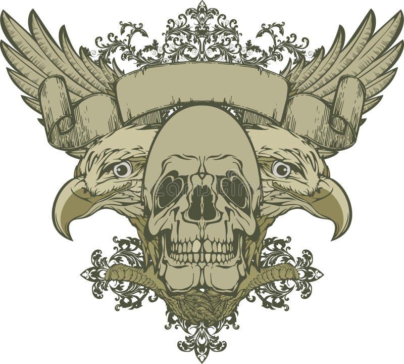 Crâne avec les ailes et l'aigle double-dirigé, main-DR illustration libre de droits