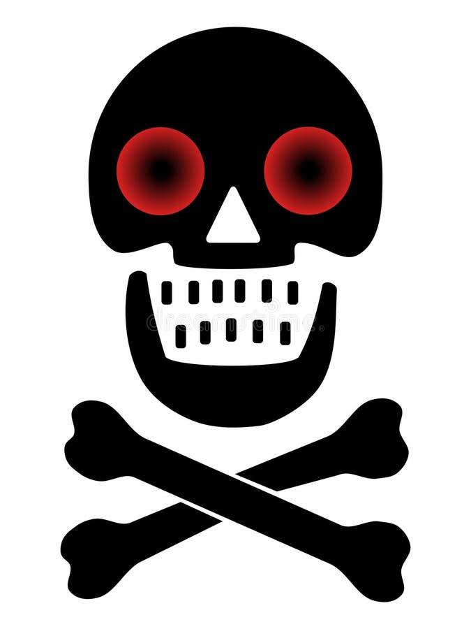Crâne avec les yeux rouges illustration stock