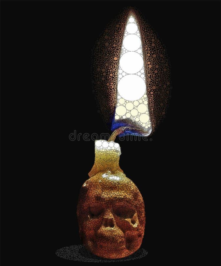 Crâne avec une bougie illustration stock