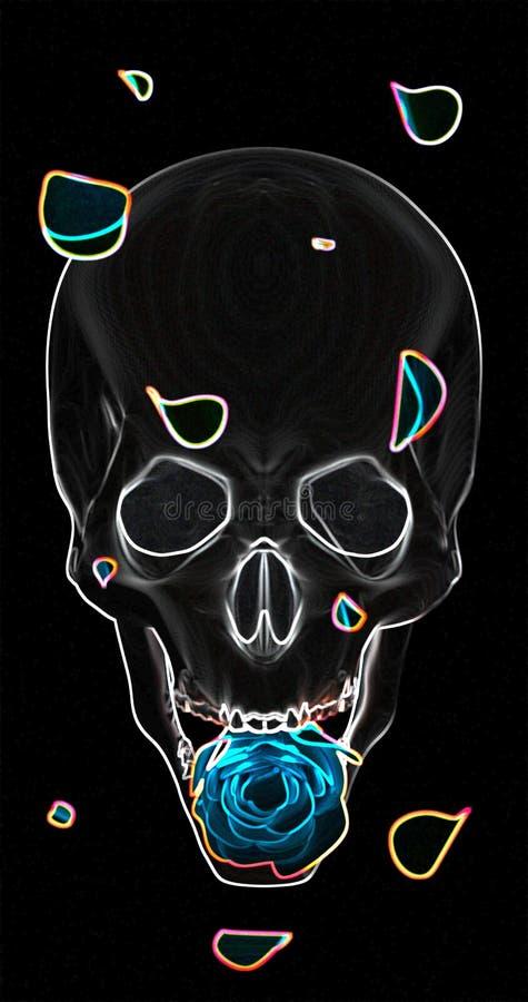 Crâne avec une rose bleue sur un fond noir image stock