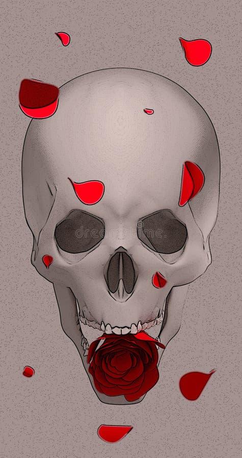 Crâne avec une rose rouge photos stock