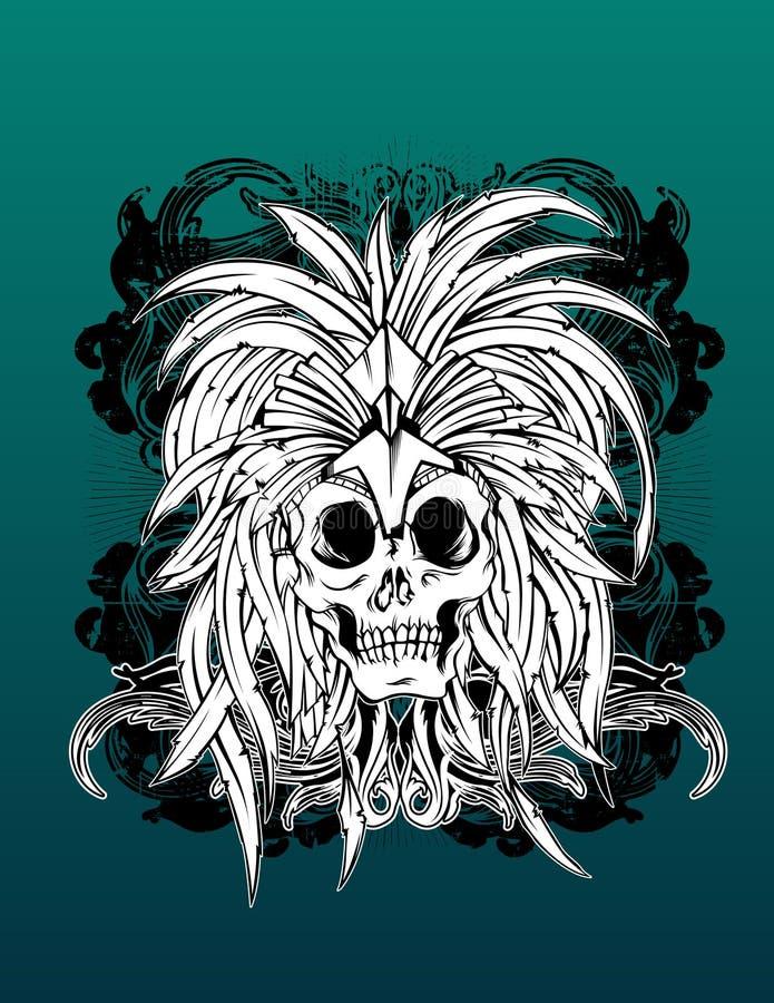 Crâne aztèque illustration de vecteur