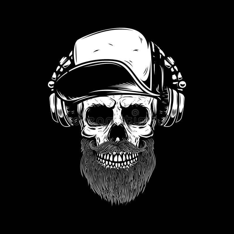Crâne barbu dans des écouteurs Concevez l'élément pour l'affiche, carte, emblème, bannière de signe illustration libre de droits