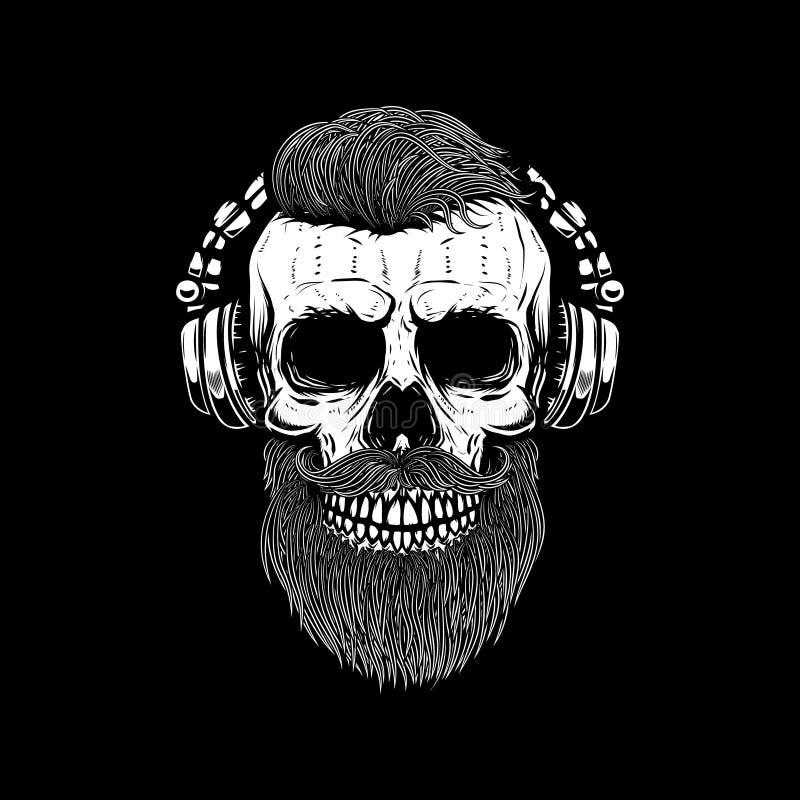 Crâne barbu dans des écouteurs Concevez l'élément pour l'affiche, carte, emblème, bannière de signe illustration stock