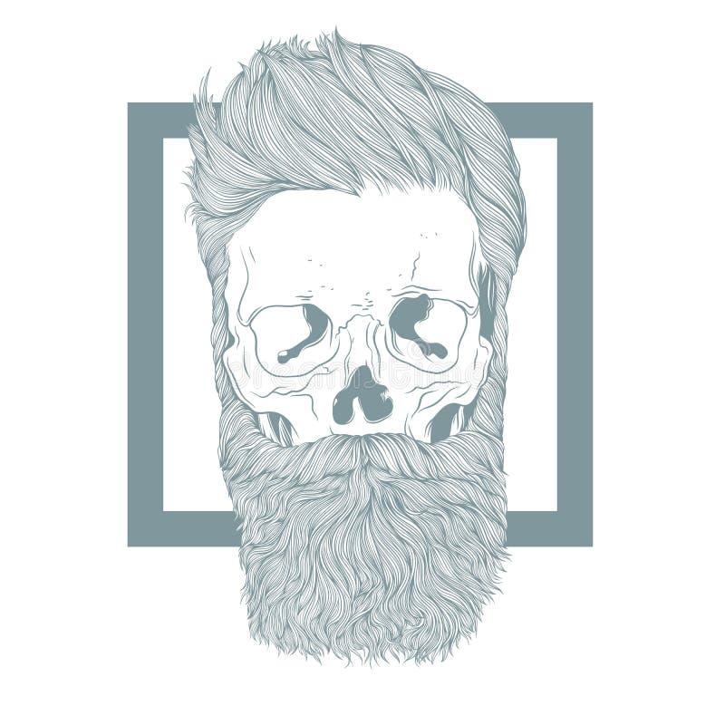 Crâne barbu de hippie avec la coiffure élégante image stock