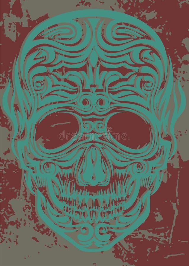 Crâne bleu 01 illustration stock
