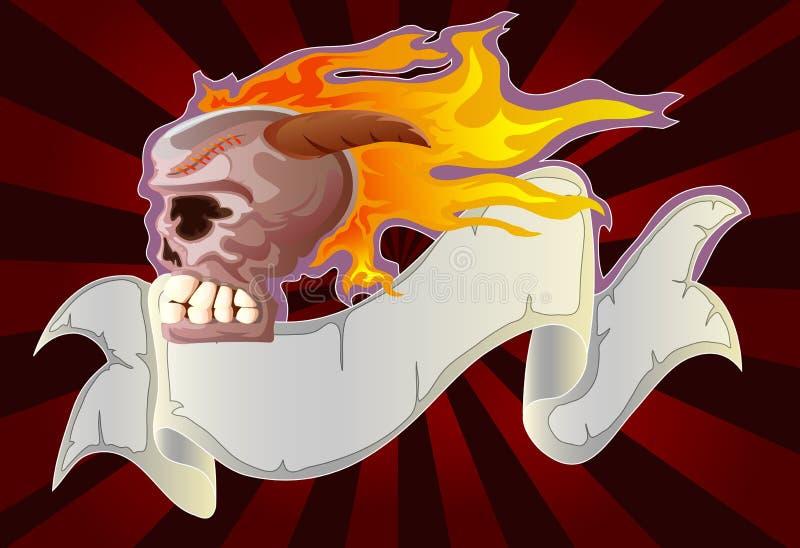 Crâne brûlé avec la bande grunge illustration de vecteur