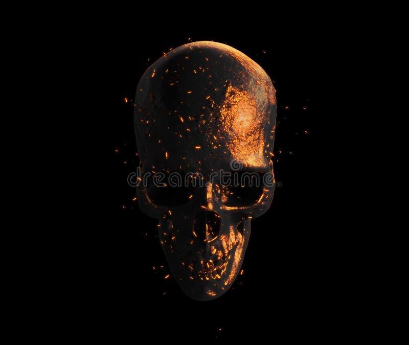 Crâne brûlé dans le rendu du papier peint 3d du feu illustration libre de droits