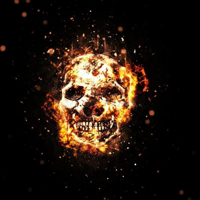 Crâne brûlé avec les flammes oranges ardentes illustration de vecteur