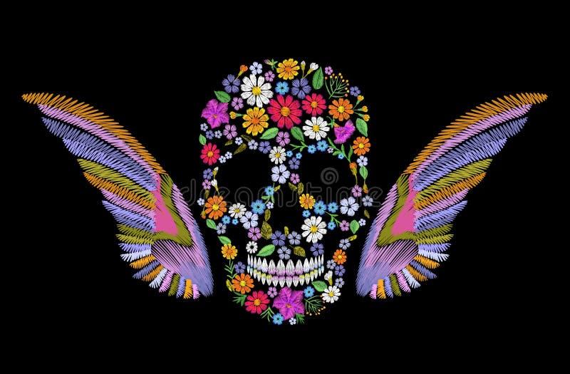 Crâne brodé de fleur de vintage avec des ailes Mexicain coloré de mode illustration de vecteur