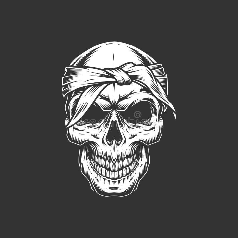 Crâne brutal de vintage avec le bandage illustration libre de droits