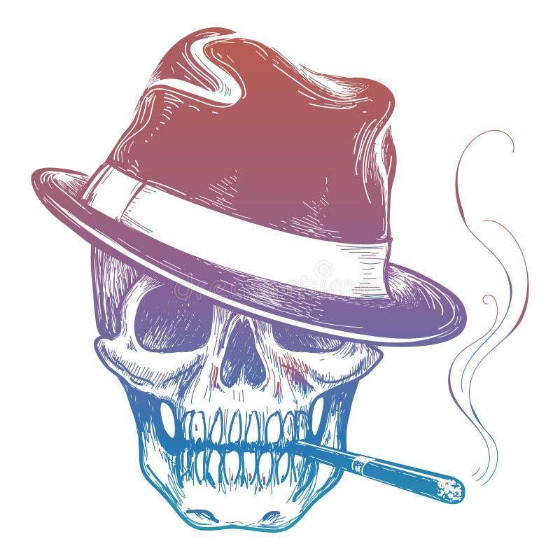 Crâne coloré de bandit avec le croquis de cigarette illustration stock
