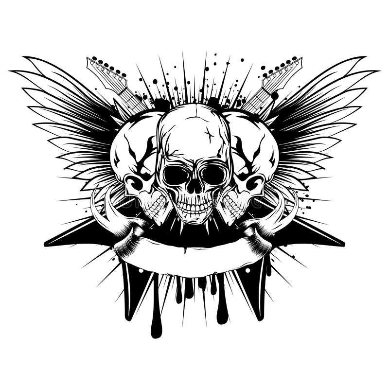Crâne d'ailes de guitares illustration stock